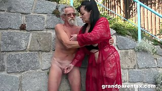 Young girl joins a much-older rash lady for a public fourway fuck