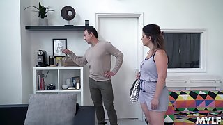 Pudgy maid Montse Swinger bonds with the horny boss man