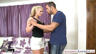 Mumbling blonde with huge boobies Phoenix Marie is poked sideways