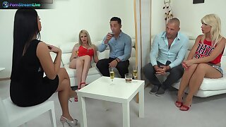 Sensual group sex line with swinger babes Blanche and Tiffany