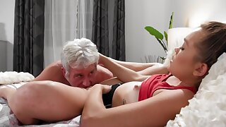 Grey-haired man fucks ex-girlfriend's pretty young stepdaughter