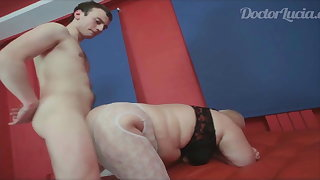 Russian BBW Mature bitch loves young boys