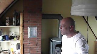 Old German man fucked brunette slut weared in sexy fishnet