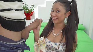 Young Jade Preesleyy enjoys cash and a huge cock