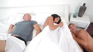 Horny wife cheats with her hubby sleeping next to her