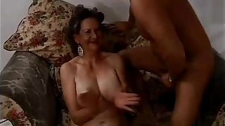 Granny Janet gets her pussy fucked by two cocks