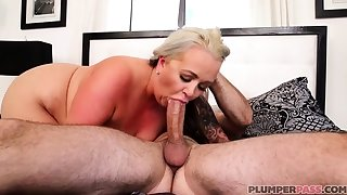 Australian BBW with obese boobs gives blowjob
