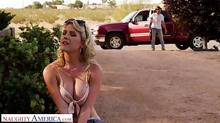 Hot blooded cowboy bang racy pussy of seductive hitchhiker Kit Mercer