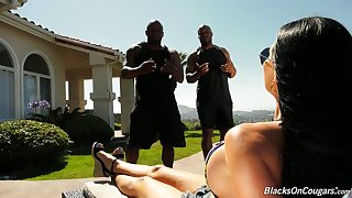 Jasmine Jae hires two fitness instructors and then fucks them at her place