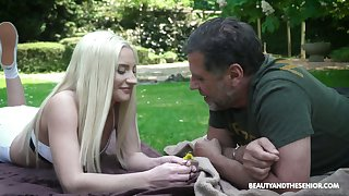 Quite bonny light haired Angela Vidal is fucked by older man exposed to get under one's lawn