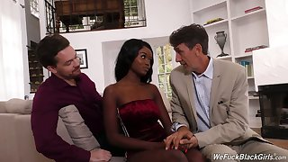 Petite coal-black main Kandie Monaee is fucked fixed by duo white fellows