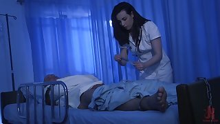 Ardent brunette nurse Casey Calvert bows and sucks strong cock dry