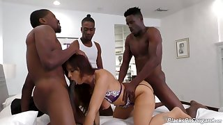 Hardcore interracial MMMF foursome with superb MILF Syren Demer