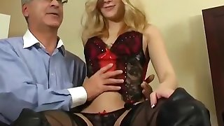 Cute Peaches Teen Drilled by Grey-haired Man