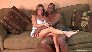 Silicone blonde gets her pussy pounded badly wide of a black dude