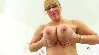 Granny with saggy tits loves prevalent acquire scant with an increment of prevalent tease with her cunt