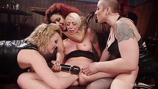 MILFs endure toys in both their wet holes during a rough XXX