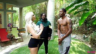 Yoga trainer Nina Elle swallows BBC plus gets the brush pussy blacked