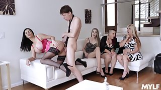 Young lad fucks these horny wives then cums on their tits