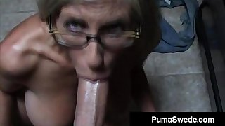 Euro Porn Personage Puma Swede Gets Milky Glasses After Blow Job!