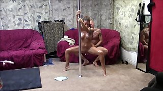 Hot couple pole dance and fuck occasion