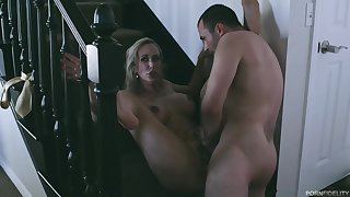 Busty porn star, Brandi Love and a handsome male, James Deen are fucking on every side the porn sandals