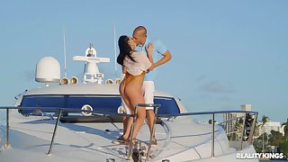 Fucking all over the private Yacht close by Sofie Reyez and Angela White