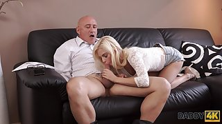 Old dad fucks son's boyfriend Candee Licious in mouth and pussy