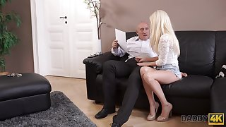 An old man gets pussy is hot and that cute young latitudinarian just loves to fuck