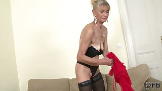 Sexy granny in stocking