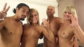 Foursome sex on the sofa with randy Sweet Cat and Katy Rose