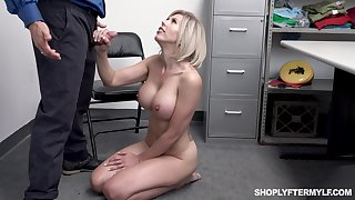 Big breasted flaxen-haired whore Amber Chase gives dirty cop a ride
